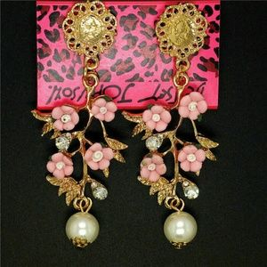 Cherry Blossom Crystals & Pearl Earrings
